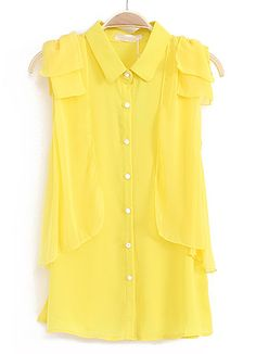 Yellow Sleeveless Cascading Shoulder Chiffon Blouse - Sheinside.com