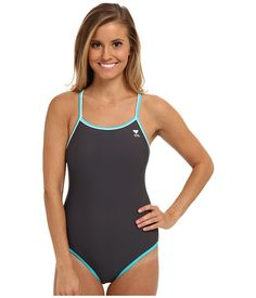 2f97978fcae18 TYR Solid Brites Reversible Diamondfit Swimsuit Grey Coral Blue -  Zappos.com Free