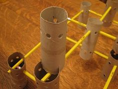 DIY tinker toys using toilet paper rolls and pencils (I'd use disposable drinking straws). Brilliant!