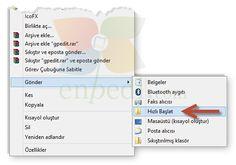 """Windows 8 ve 10: Sağ Tuş """"Gönder"""" Menüsüne """"Hızlı Başlat"""" Seçeneği Eklemek enpedi-Windows 8"""