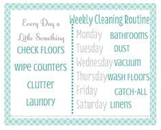 Do a little every day- put this FREE printable in a frame or on your fridge to get a handle on the day-to-day of keeping your home clean. Via Clean Mama
