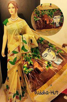 Painting on fabric Saree Painting, Kerala Mural Painting, Dress Painting, Hand Painting Art, Fabric Painting, Hand Painted Sarees, Hand Painted Fabric, Set Saree, Saree Dress