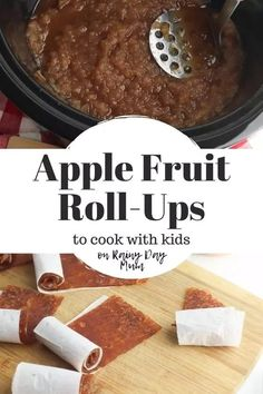 Delicious recipe to cook with kids to make an easy and healthy snack homemade fruit roll-ups with apple and cinnamon sauce. Yummy Snacks, Delicious Desserts, Healthy Snacks, Yummy Food, Tasty, Strawberry Recipes, Apple Recipes, Fall Recipes, Fruit Leather Recipe