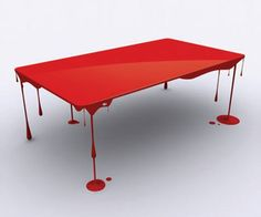 Red Dripping Paint Table