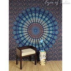 tapisserie murale mandala Ensemble de 2 rideaux mandala /à grandes fleurs bleues et dor/ées rideaux boho, suspension mandala tentures mandala rideaux indiens tapisserie pour porte 82