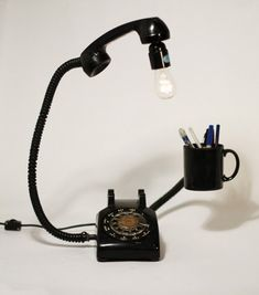 old telephone repurposed desklight | More from Flim Biz Recycling.