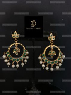 Ready to ship chandbali Medium size Made using polki with shell pearls and gold plating Delivered in days within USA days worldwide Gold Ring Designs, Gold Earrings Designs, Gold Jewellery Design, Necklace Designs, Gold Jewelry Simple, Gold Rings Jewelry, Jewelery, Wire Jewelry Earrings, Beaded Jewelry
