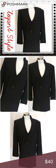 Metrostyle 2 pc Plus Size Black Skirt Suit Formal wear plus size 2 Pc skirt suit is perfect for the fall. Lightweight fabric with 2 button down the jacket, the skirt has 2 middle pleats and elastic and a zipper in the waistline. 100% polyester, machine washable. Metrostyle Skirts Skirt Sets
