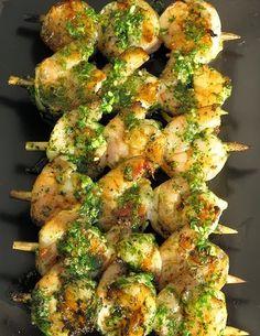 Cilantro Pesto Grilled Shrimp | Cocinando con Alena
