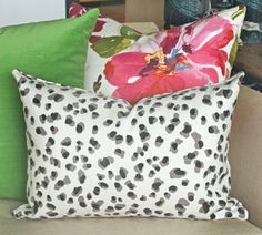 Leopard Spot pillow with painterly floral and Green velvet all available at www.tonicliving.com (or click the image to buy now).  #tonicliving #pillows #homedecor