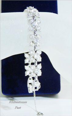 Bogoff Rhinestone Bracelet Vintage 1940 Silver Jewelry Flower Links
