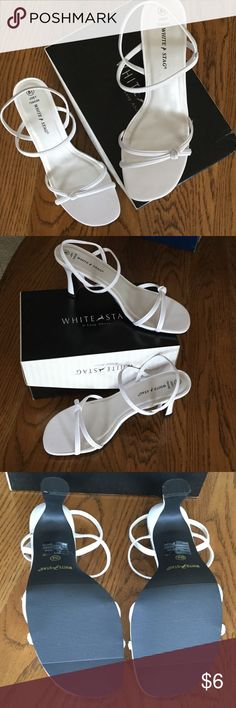 """New White Stag Dress Sandals 8 1/2 Brand new white sandals.  Bought these for my daughter but she never wore them.  This is the original box they came in.  Box will say """"black"""" .  Sales person said the box """"white"""" must have been sold with another persons purchase.  Also, there are small smudges from being in storage, but are not as big as noted on the pics above.  I am open to all offers. 💕Bundle your likes and save💕 White Stag Shoes Sandals"""