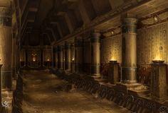 Tomb King Hallway, par Sven Bybee, in Age of Reckoning Egypt Concept Art, Fantasy Concept Art, Fantasy Art, Fantasy Places, Fantasy World, High Fantasy, Environment Concept, Environment Design, Desert Temple