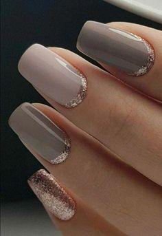 31 ideas for nails fall design nailart Nail designs Gold Gel Nails, Glitter Nails, Fun Nails, Acrylic Nails, Coffin Nails, Nail Pink, Ombre Nail, Pink Glitter, White Nail