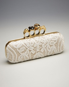 White Lace Knuckle-Clasp Clutch - this is beautiful, artsy, and practical...but way to expensive for me.