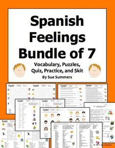 Spanish Feelings Bundle - Vocabulary, Practice, Skit, Quiz, and Puzzles by Sue Summers Vocabulary Practice, Spanish Vocabulary, Vocabulary Words, Spanish Words, English Words, Classroom Commands, Greeting Words, Feelings Words, Class Activities