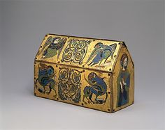 Chasse of Champagnat. ca. 1150. Limoges. Copper: engraved and gilt; champlevé enamel: blue-black, medium blue, turquoise, green, red, and white. Met website.x