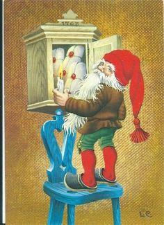 Christmas Gnome, Christmas Art, Vintage Christmas, Gnome Pictures, Scandinavian Christmas, Old Postcards, Leprechaun, Christmas Pictures, Troll