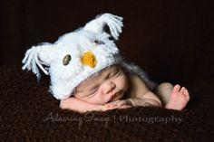 soft fuzzy white snow owl hat