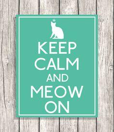 Cat Decoration  Keep Calm Decor  Digital Cat Art by PatiHomeDecor, $6.00