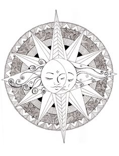 A pirate compass rose to color compass rose faux for Peace sign mandala coloring pages
