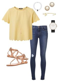"""I love this outfit ❤️"" by hashtagprep ❤ liked on Polyvore featuring мода, J Brand, Frye, Kate Spade и Daniel Wellington"