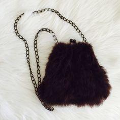 Fur Crossbody Handbag Good condition. Bronze hardware. Rabbit fur. Bags Crossbody Bags