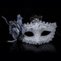 Halloween Mask Carnival Masquerade Shiny Rhinestone Venetian Pretty Party Flower - Masks