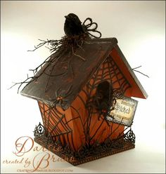 So, while Hurricane Sandy is storming around me, I have created a darling birdhouse for Halloween! I had a lot of fun with this! I painted . Diy Halloween Village, Halloween Fairy, Fun Halloween Crafts, Halloween Miniatures, Halloween Porch Decorations, Halloween Haunted Houses, Halloween House, Halloween Pumpkins, Happy Halloween