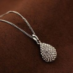 Silver and Crystal Teardrop