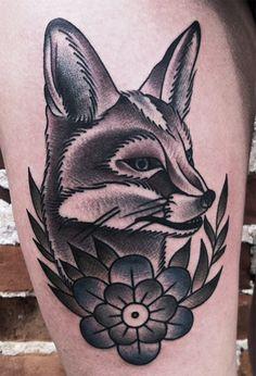 Fox traditional tattoo. Artist: The amazing Mike Adams.