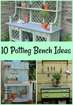 One of my favorite things to have in a garden is a beautiful potting bench. Today I've compiled 10 potting bench ideas to give you inspiration for your garden. Outdoor Potting Bench, Potting Tables, Rustic Outdoor, Diy Pallet Projects, Garden Projects, Garden Ideas, Garden Art, Backyard Ideas, Spring Projects