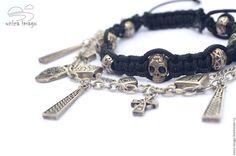 """Купить Сет браслетов """"Мрачность"""" - серебряный, готические браслеты, браслет в стиле рок, браслеты для неформалов"""