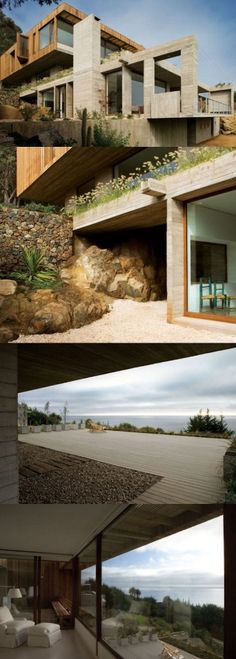 A Modern Seaside Home Enjoying A Beautiful Scenery Of Rough Nature, Cactae, Spruce Vegetation, Crude Soil & A Steel Blue Sea.