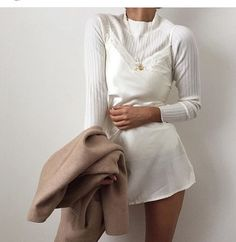 all in white + camel coat
