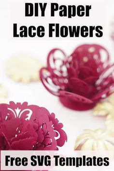 Cricut paper flower project with free SVG tempalte cut files Free Paper Flower Templates, Paper Flower Patterns, Paper Cutting Templates, Paper Flower Tutorial, Rolled Paper Flowers, Paper Flower Wreaths, Paper Flowers Diy, Paper Garlands, Paper Decorations