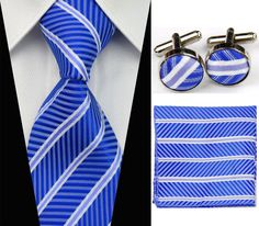 Fathers day Blue White Stripe Necktie Men s Tie Cufflinks Hanky Handkerchief Set