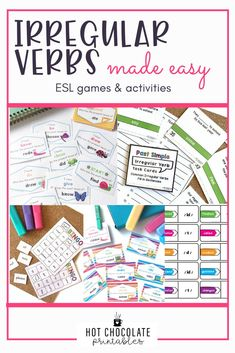 These ready to print games and activities focused on Regular and Irregular Past tense verbs will save you prep time and dazzle your students! They'll enjoy these engaging activities and improve past Tense fluency at the same time! Vocabulary Strategies, Vocabulary Games, Grammar And Vocabulary, English Vocabulary, English Grammar, English Language, Spelling Activities, English Activities, Listening Activities