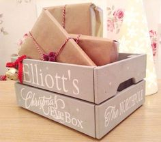 CHRISTMAS XMAS EVE BOX - PERSONALISED CHILDRENS WOODEN SANTA GIFT IDEA - in Home, Furniture & DIY, Celebrations & Occasions, Christmas Decorations & Trees   eBay