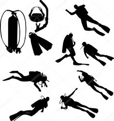 Scuba divers silhouettes by - Stock Vector Scuba Diving Gear, Cave Diving, Diving Logo, Scuba Diving Tattoo, Diving Camera, Australia Tattoo, Dove Tattoos, Leg Tattoos, Silhouette Vector