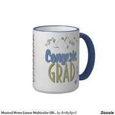 Musical Notes Linear Multicolor GRADUATION Custom Ringer Coffee Mug