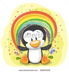Cute Cartoon Penguin with rainbow on a yellow background