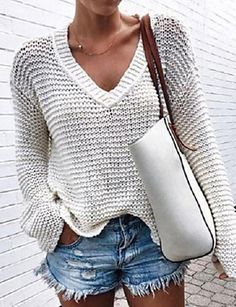 ivrose / V Neck Long Sleeve Casual Pointelle Sweater Pullover Sweaters, Jumper, Cardigans, Types Of Fashion Styles, V Neck Tops, Long Sleeve Sweater, Sleeve Styles, Knitting, Casual