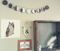 Wood, Moon phase garland with silver chain and adjustable moons