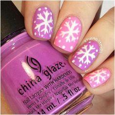 Pink winter snowflake nail design for short nails snowflake nails, snow Nail Art Designs, Short Nail Designs, Simple Nail Designs, Nails Design, Pretty Designs, Snowflake Nail Design, Snowflake Nails, Winter Nail Art, Winter Nails
