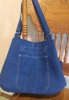 Denim bag from repurposed denim skirt.