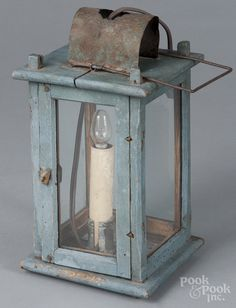 Blue painted wood carry lantern, 19th c.