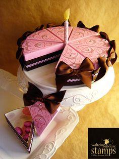 Paper cake Cake Slice Boxes, Box Cake, Chocolate House, Chocolate Box, Chocolate Flowers Bouquet, Holiday Crochet Patterns, Cricut Cake, Cake Templates, Fake Cake