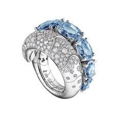 De Grisogono ~ White gold ring with aquamarines & white diamonds
