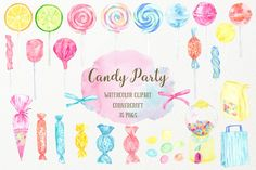 Ad: Watercolor Candy Party Clip Art by Corner Croft on Watercolor Clipart Candy Party Hand painted watercolour clipart of sweets, candies, lollipops and sweet machine and decorative packaging in Candy Background, Art Background, Watercolor Background, Textured Background, Watercolor Flowers, Watercolor Art, Watercolor Illustration, Graphic Illustration, Art Illustrations